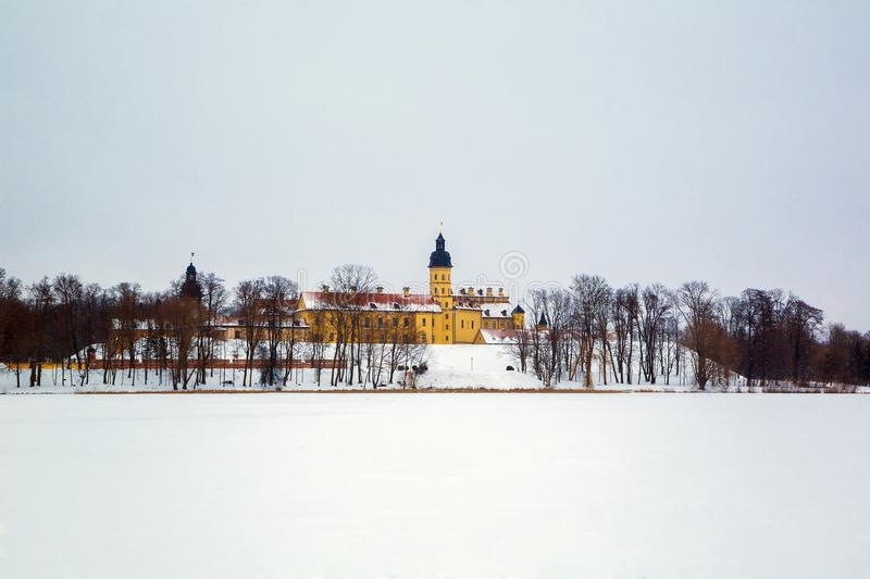 Nesvizh Castle. winter. Belarusian attraction Nesvizh castle covered with snow in the winter season royalty free stock photography