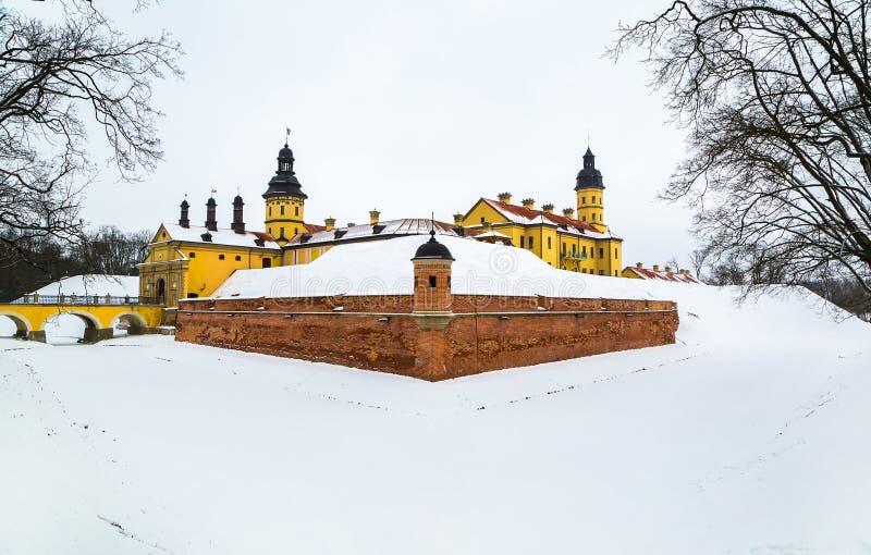 Nesvizh Castle. winter. Belarusian attraction Nesvizh castle covered with snow in the winter season stock images