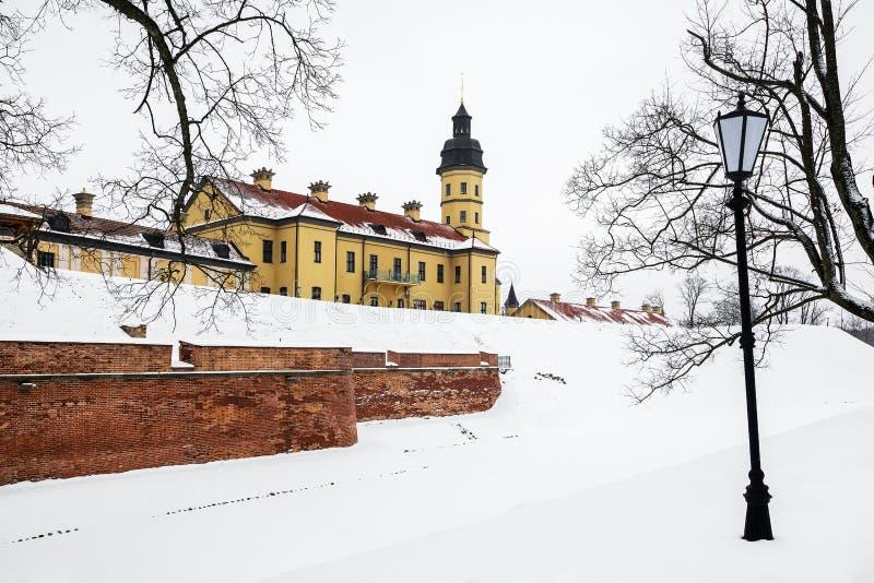 Nesvizh Castle. winter. Belarusian attraction Nesvizh castle covered with snow in the winter season stock photo