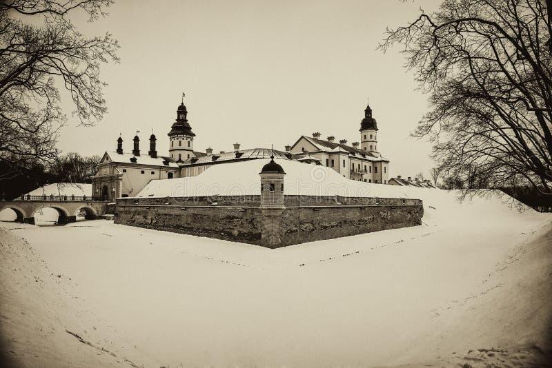 Nesvizh slott Vinter arkivbild