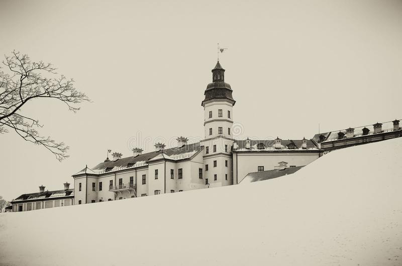 Nesvizh slott Vinter fotografering för bildbyråer