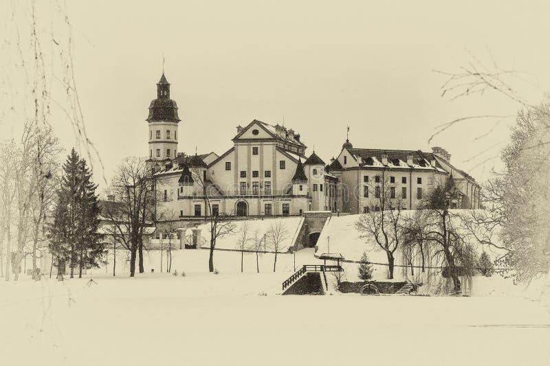Nesvizh slott Vinter royaltyfri fotografi