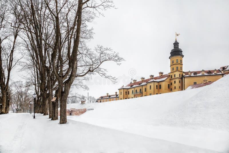 Nesvizh slott Vinter royaltyfria bilder
