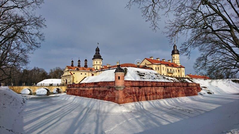 Nesvizh slott, Vitryssland, mars 2018 royaltyfri foto