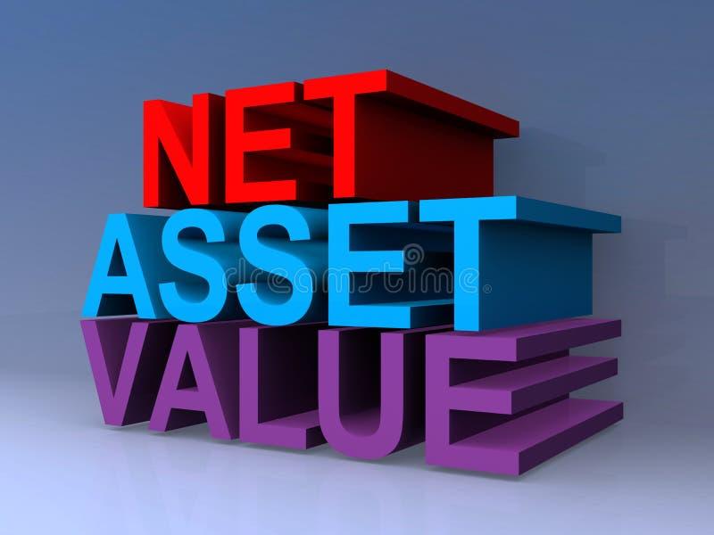 Net asset value. On blue vector illustration