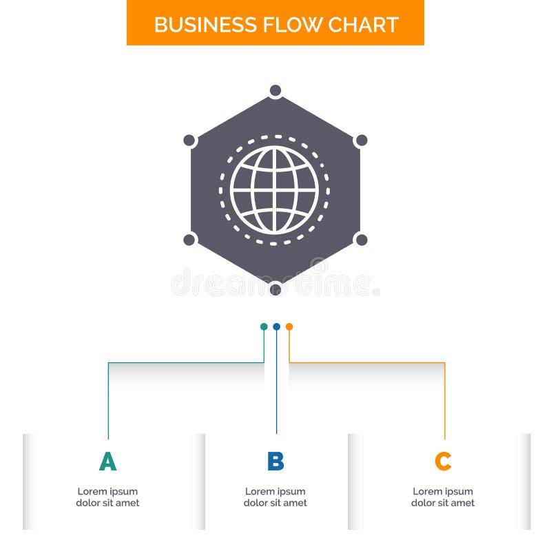 Net, Mondiaal, gegevens, Verbinding, het Ontwerp Bedrijfs van de Bedrijfsstroomgrafiek met 3 Stappen Glyphpictogram voor Presenta royalty-vrije illustratie