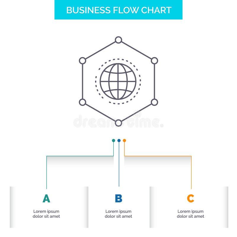 Net, Mondiaal, gegevens, Verbinding, het Ontwerp Bedrijfs van de Bedrijfsstroomgrafiek met 3 Stappen Lijnpictogram voor Presentat vector illustratie