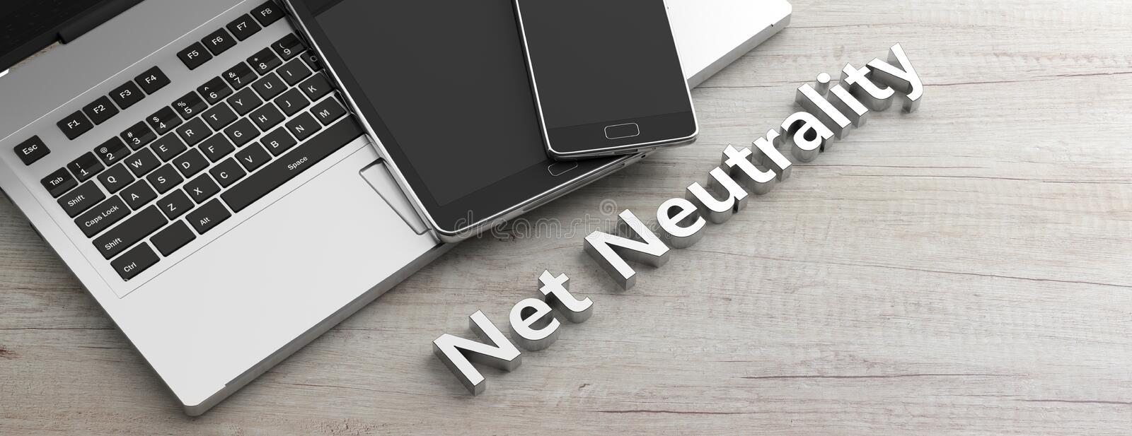 Mobile phone and tablet and a computer laptop on wooden background, copy space, net neutrality text. 3d illustration vector illustration