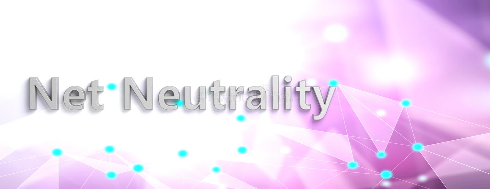 Net neutrality text on abstract digital background, copy space, banner. 3d illustration royalty free illustration