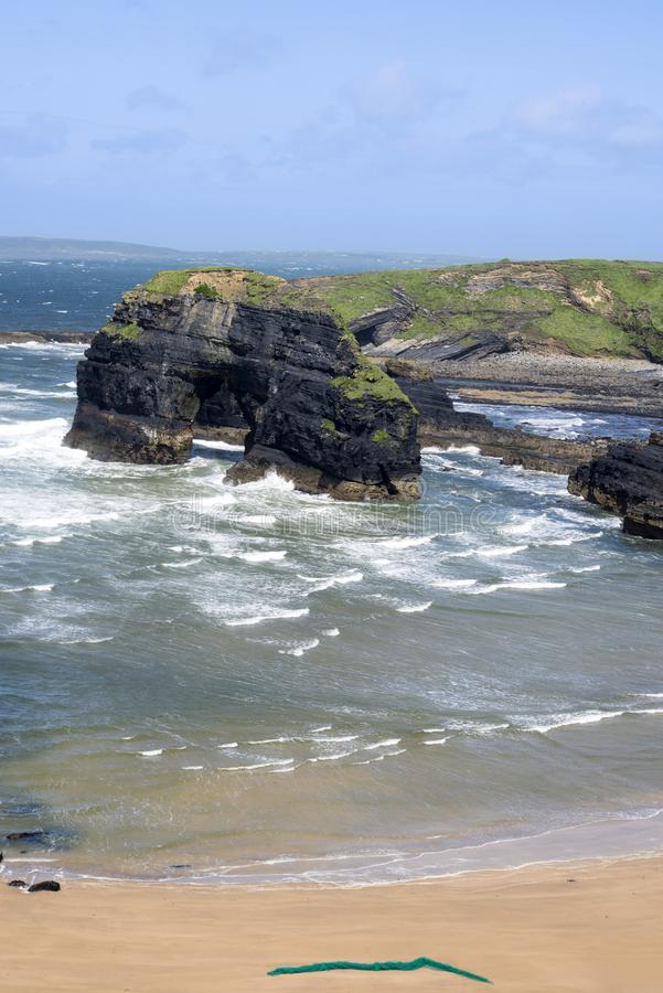 Net on the nuns beach. At the virgin rock on the wild atlantic way in county kerry ireland stock photo