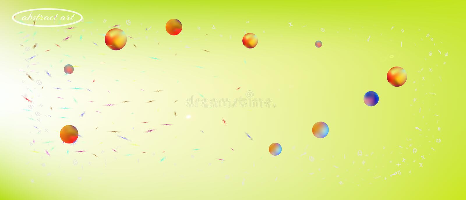 Colorful abstract ultra wide space background. Net space and signs confetti. Liquid colorific illustration. Background colorful. Colorful great space Ultra Wide royalty free stock photography
