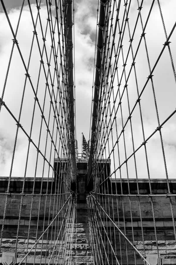 Net of suspension cables on Brooklyn Bridge, Manhattnan New York. Suspension cables on Brooklyn Bridge, Manhattnan New York City, black&white royalty free stock photos