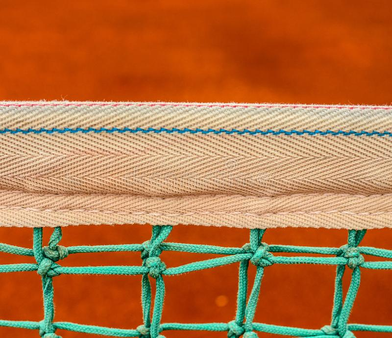 Net of tennis court on clay court royalty free stock photography