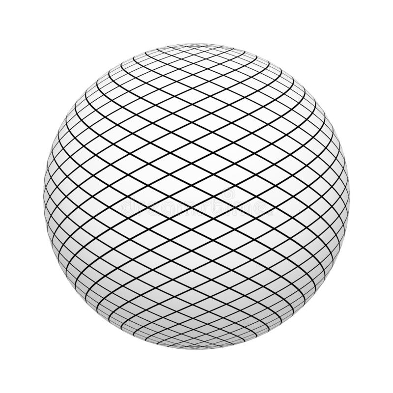 Net texture pattern with black squares on ball or sphere shape isolated on white background. Mock up design. 3d abstract vector illustration