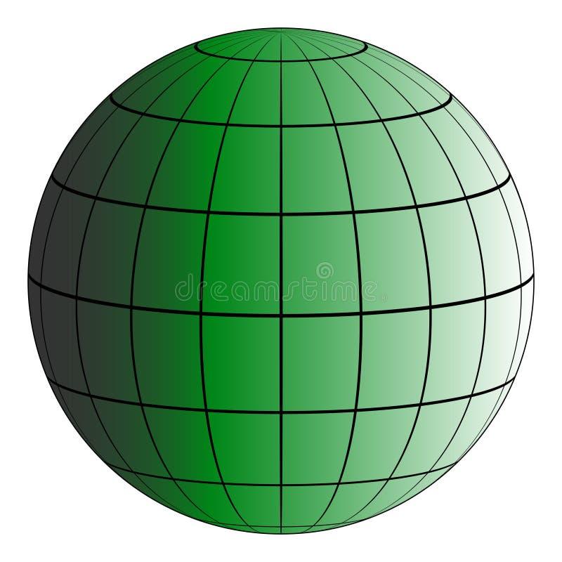 Net van de Globus 3D aarde, het effect van verlichting door de zon, vector groene planeet, model van de aarde royalty-vrije illustratie