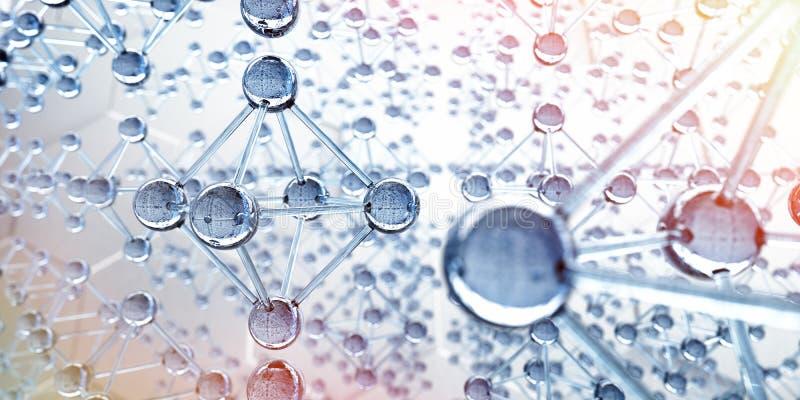Net van glasmolecules - 3d structuurvisualisatie vector illustratie