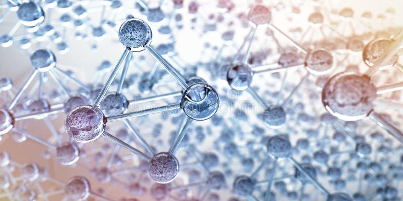 Net van glasmolecules - 3d structuurvisualisatie stock illustratie
