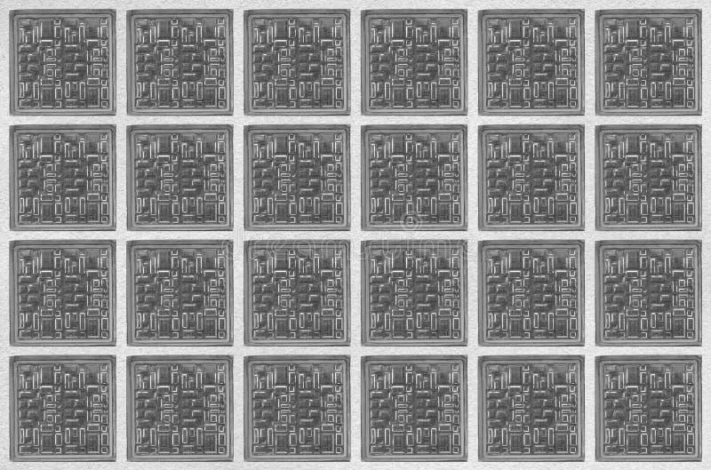 Net van vierkant glasblok op witte muur stock afbeeldingen