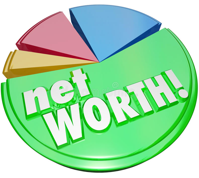 Net Worth Pie Chart Wealth Value Compare Assets Debts Graph royalty free illustration