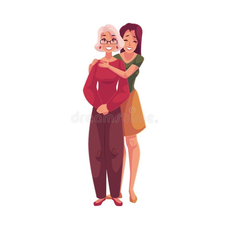 Neta bonita nova que abraça a avó ilustração stock