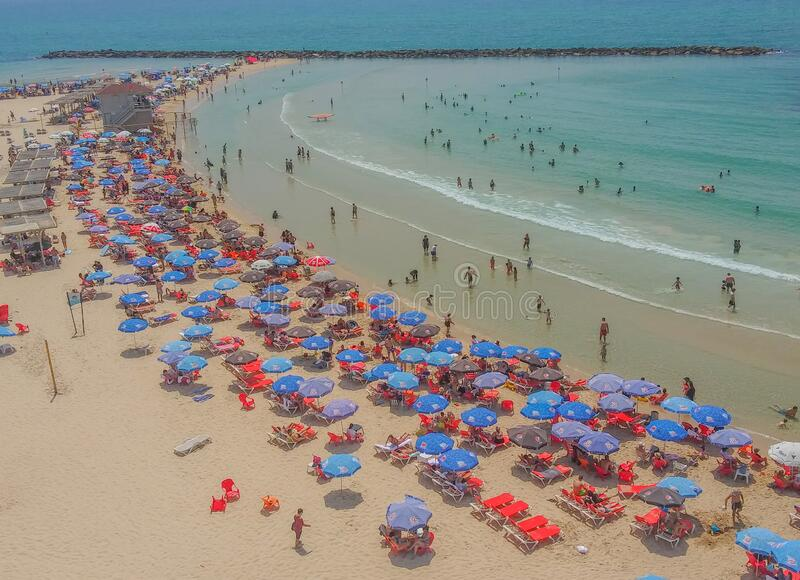 Netanya Beach on the Mediterranean Sea in Netanya, Israel.  royalty free stock photos