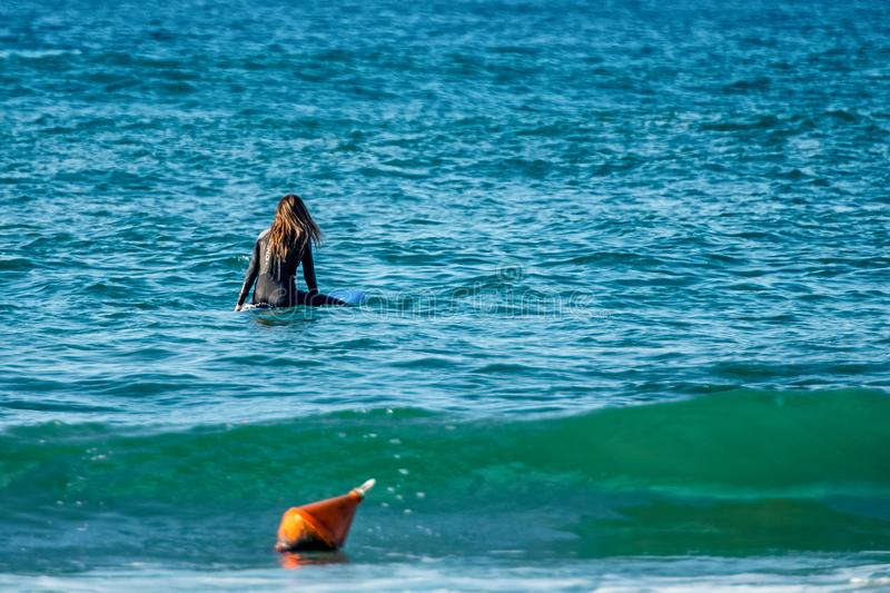 12/18/2018 Netanya, Israel, the surfer rides on the wave and perform tricks on a wave stock images