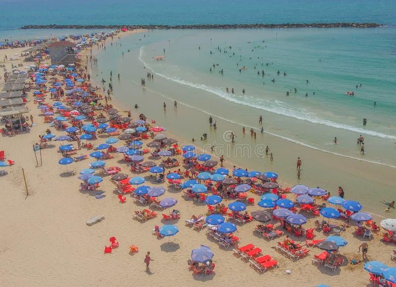 Netanya-strand aan de Middellandse Zee in Netanya, Israël royalty-vrije stock foto's