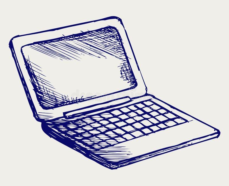 Netbook. Ύφος Doodle ελεύθερη απεικόνιση δικαιώματος