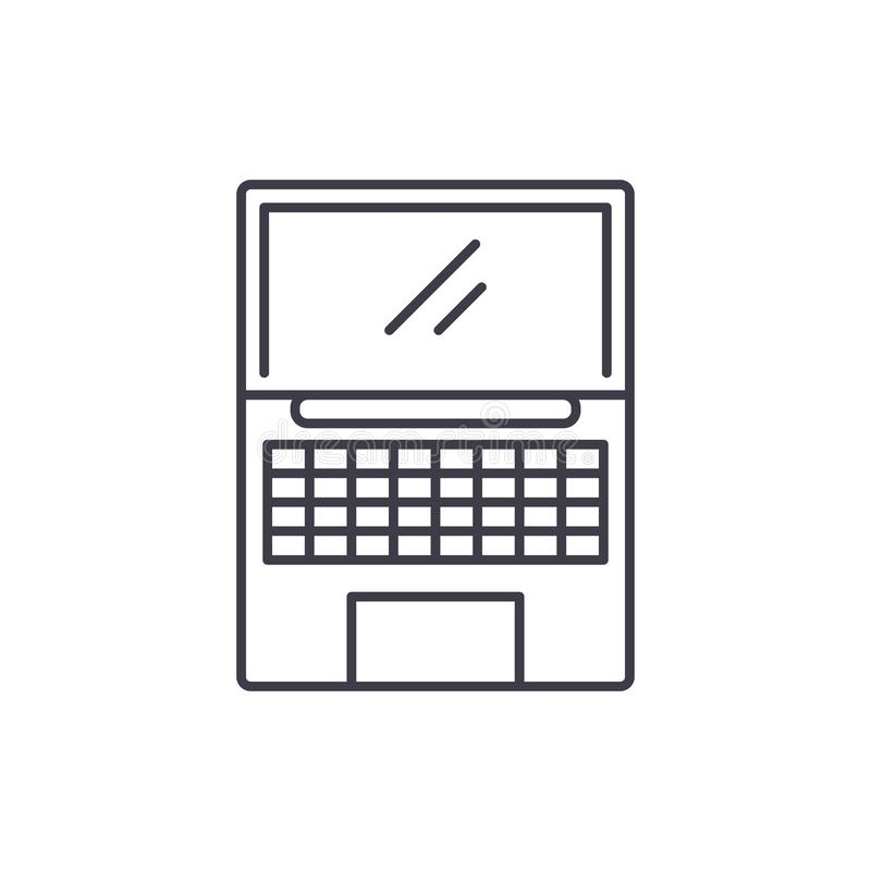 Netbook line icon concept. Netbook vector linear illustration, symbol, sign stock illustration
