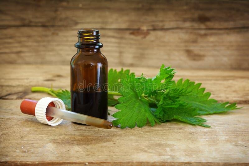Neteltint in een kleine fles en verse bladeren op rustiek w stock foto's