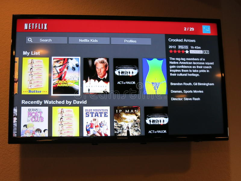 Netflix手表显示屏幕 图库摄影
