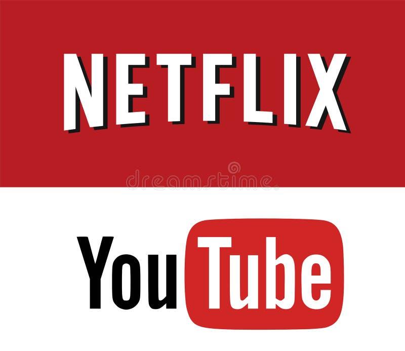 Netflix CONTRA YOUTUBE Logo Editorial Vetora ilustração royalty free