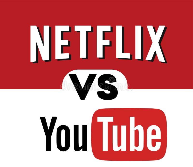 Netflix VERSUS YOUTUBE Logo Editorial Vector vector illustratie