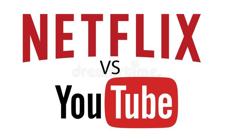 Netflix VERSUS YOUTUBE Logo Editorial Vector royalty-vrije illustratie
