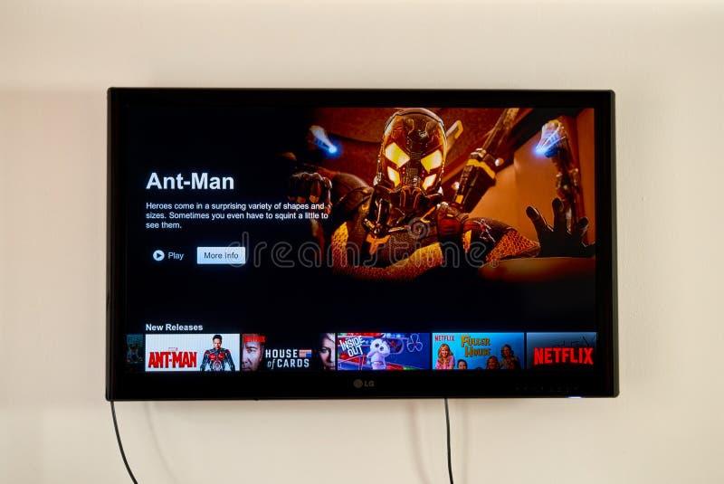 Netflixtoepassing op LG-TV stock fotografie