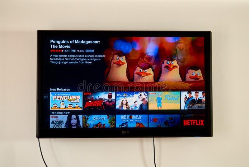 Netflixtoepassing op LG-TV royalty-vrije stock afbeelding