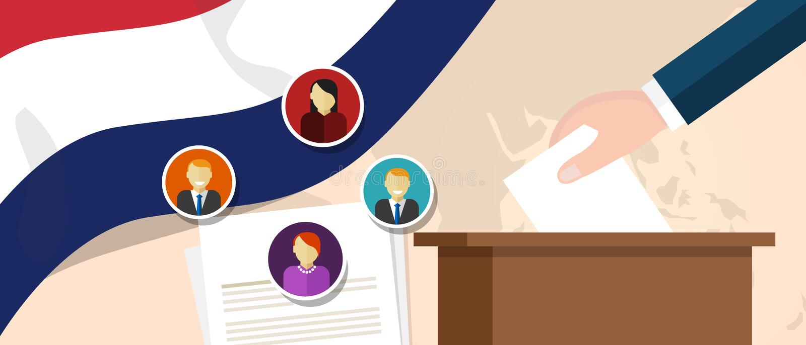 Netherland democracy political process selecting president or parliament member with election and referendum freedom to. Vote vector stock illustration