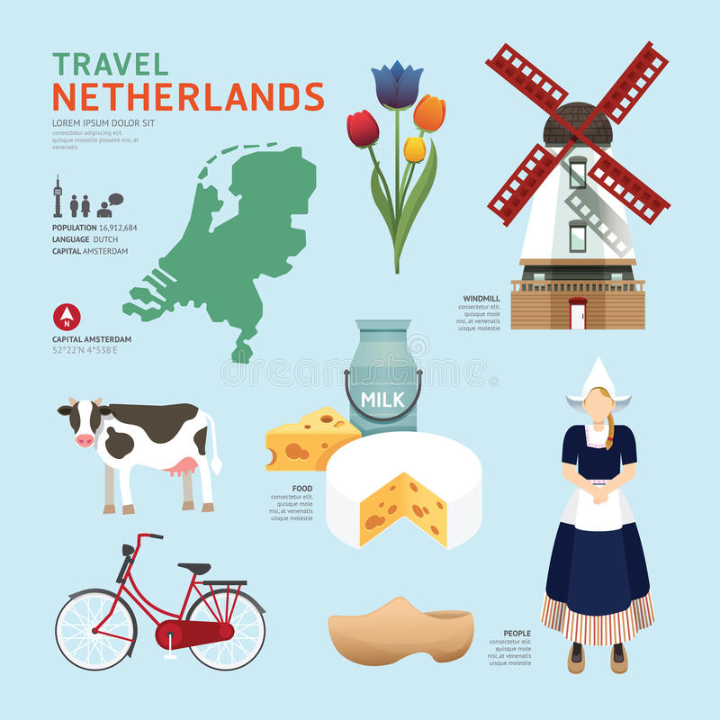 Netherland Flat Icons Design Travel Concept.Vector. Design royalty free illustration