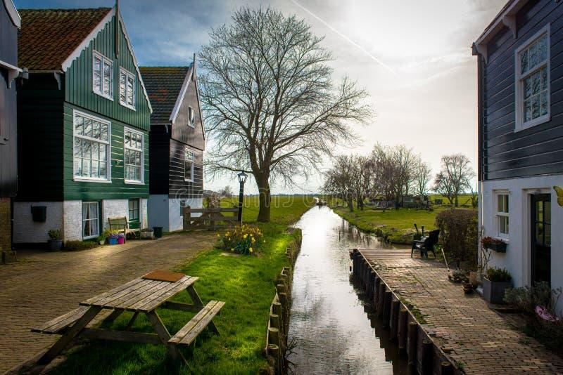 Netherland villag, marken, drewniany dom, kolor, kanał fotografia royalty free