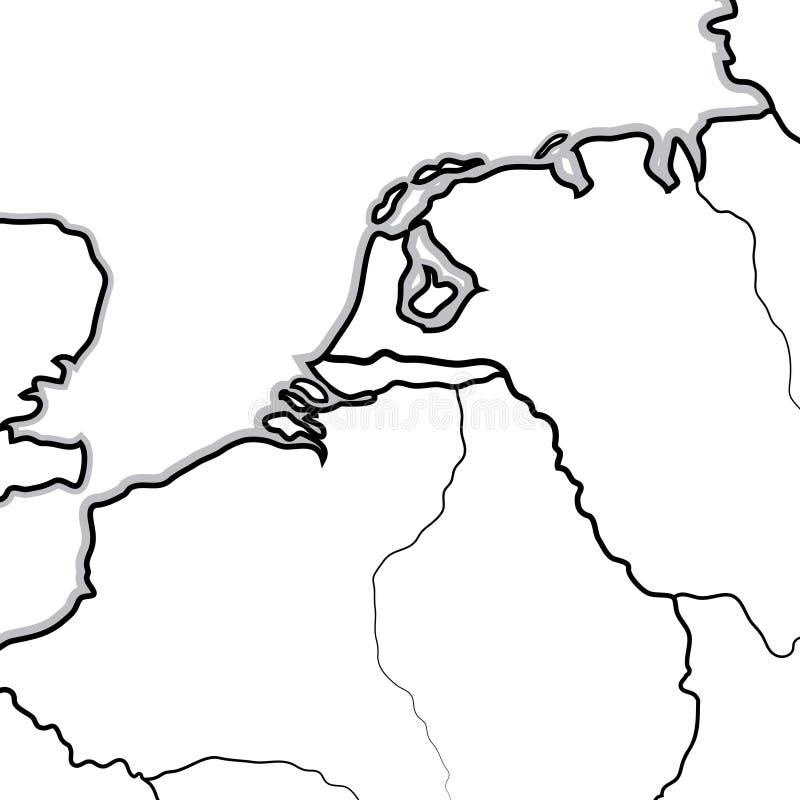 NETHERLANDISH土地的地图:荷兰,比利时,卢森堡(;Benelux); 地理图 库存例证