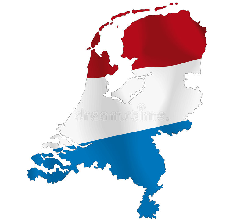 Netherlands. Vector illustration of a map and flag from Netherlands stock illustration
