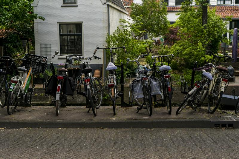 The Netherlands, Amersfoort Street photography of a set of old urban bikes. royalty free stock images