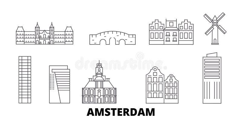Netherlands, Amsterdam City line travel skyline set. Netherlands, Amsterdam City outline city vector illustration vector illustration