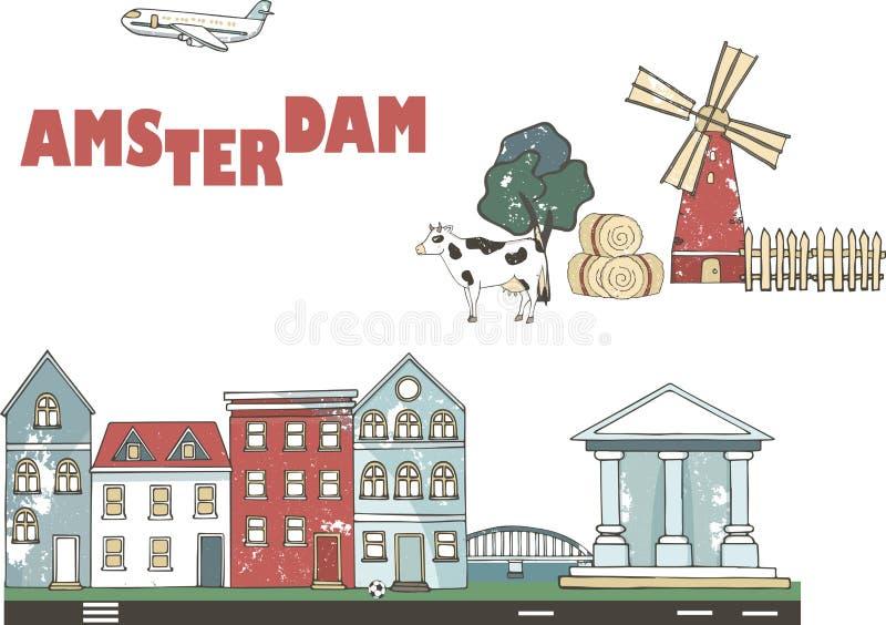 Netherlands, Amsterdam City line travel skyline set. Netherlands, Amsterdam City outline city vector illustration royalty free illustration