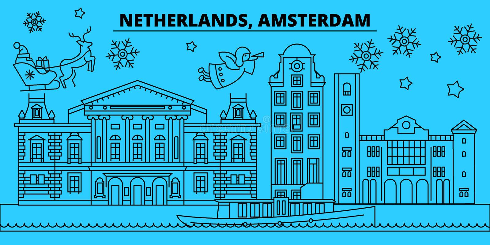 Netherlands, Amsterdam city winter holidays skyline. Merry Christmas, Happy New Year decorated banner with Santa Claus. Outline vector.Netherlands, Amsterdam stock illustration
