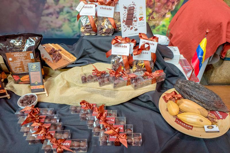 NETHERLANDS - AMSTERDAM - FEBRUARI 24, 2018: Detail of the market stall from Chokade at the Chocoa Chocolate Festival 2018 in Amst stock photos