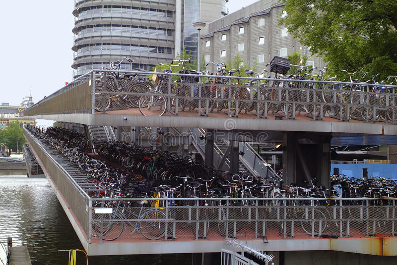 Netherlands, Amsterdam. Parking garage for bicycles royalty free stock images