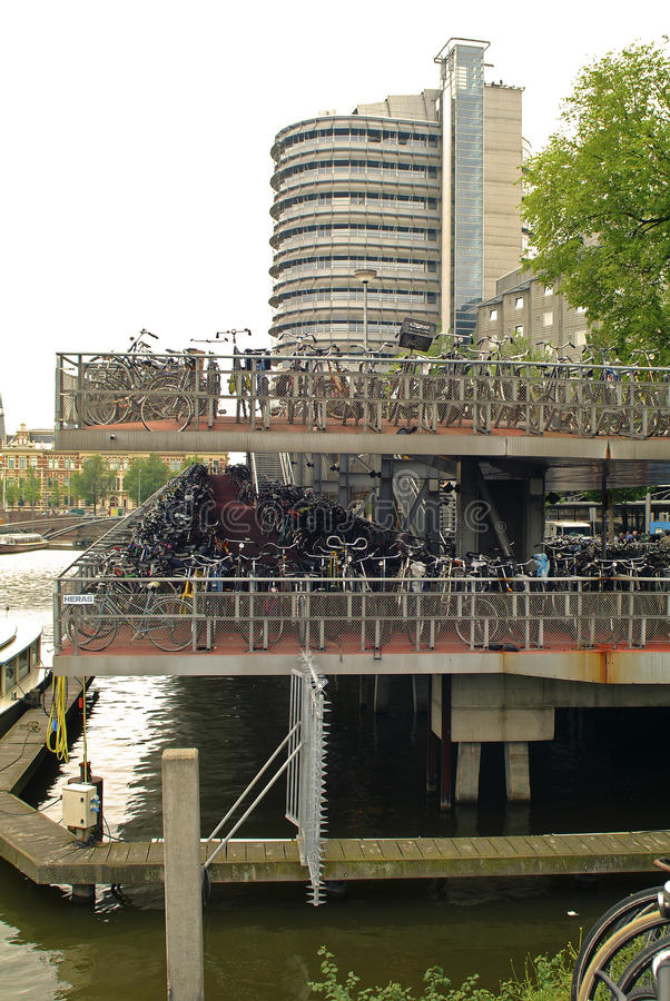 Netherlands, Amsterdam. Parking garage for bicycles royalty free stock photos