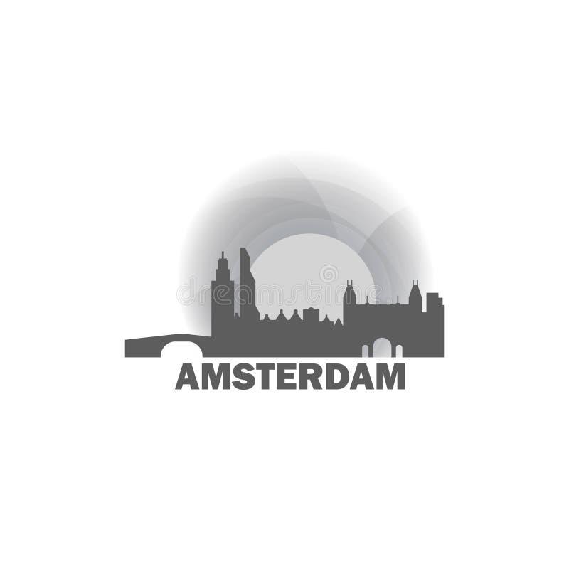 Amsterdam sunrise sunset logo. Netherlands Amsterdam sunrise sunset city panorama landscape skyline flat icon logo stock illustration