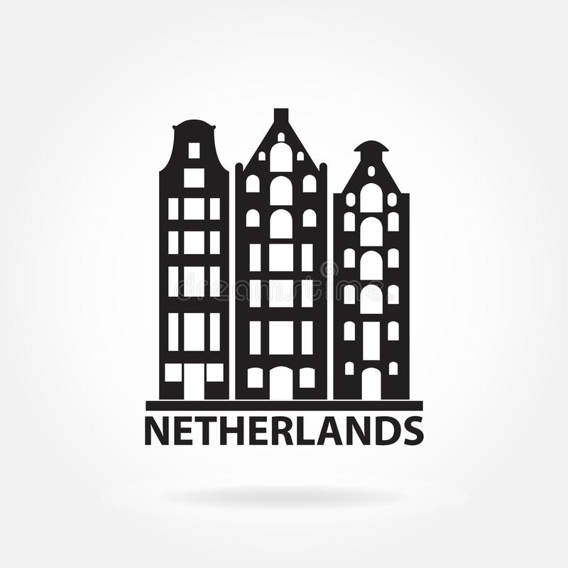 Netherlands and Amsterdam symbol. Old buildings in European style. Dutch landscape symbol. Vector icon or sign. Netherlands and Amsterdam symbol. Old buildings stock illustration